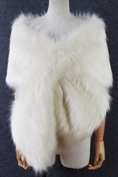 White Fur Scarf for Women