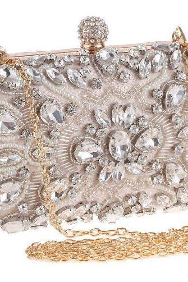Ivory Clutch for Women Evening Bags and Purses for Women-Bridesmaids Handbags-Party Purse Metal Clutches Beaded Bridal Wedding Box