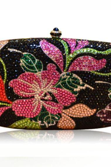 Black Party Bags for Women Black Bridesmaids Purses Floral Diamonds Beaded Clutches-Encrusted Bags Rhinestones Wedding Handbag Metal Clutches