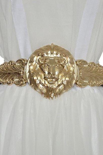 New Golden Lion Head Belts for Women-Golden Wide Fashion Belts Elastic Belts-Women Girdle Metal Round Buckle Elastic Exaggeration Belt