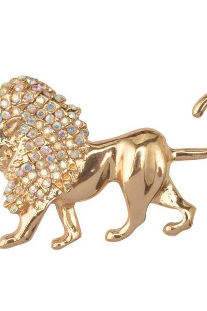Golden Brooch for Women Golden Lion Head Pattern with Rhinestones Pins and Brooches