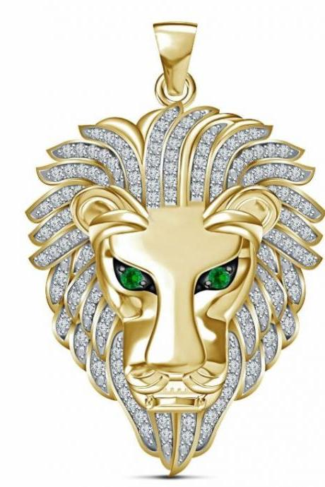 Trendy Golden Lion Head with Green Eyes Golden Necklace for Men and Women Stellux Pendant Necklace