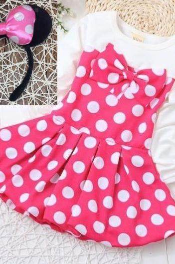Lovely Dresses for Birthday Girls Outfit Pink Dresses for Infant Girls Polka Dots Dress with Bow Headband