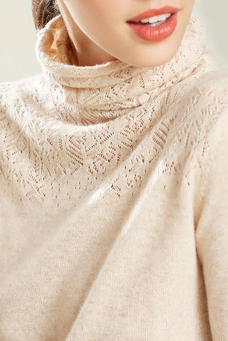 Ivory Sweaters for Winter Sweaters for Spring Thermal Turtleneck Cashmere Cotton Blend Openwork Carve Sweaters for Women