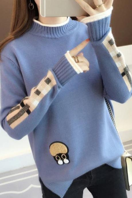 Blue Sweaters with Plaid Patchwork Winter Sweaters for Spring Thermal Short Turtleneck Cashmere Cotton Blend Blue Sweaters for Women