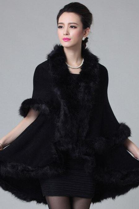 Fashion Black Ponchos for Women Knitted Wool Women's Black Cardigan Double Layer Fur Thicker Trims Black Shawls for Women