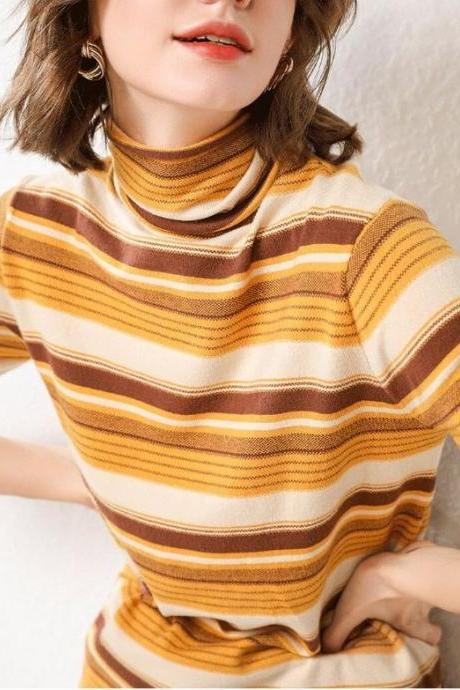 Yellow Turtleneck Sweaters with Alternate Color Thermal Shirts for Women-Yellow Mustard Knitted Sweaters