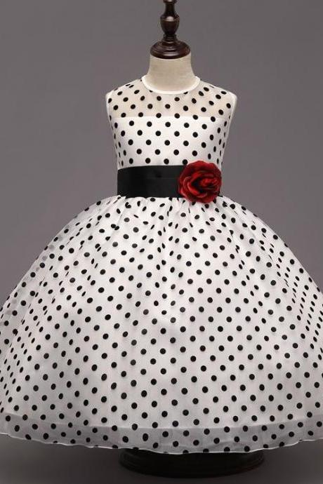 Fashion Dress for Girls Polka Dots 2t,3t,4t,5t,6t,7-8yo White Dress with Black Dots Sleeveless Formal Dresses