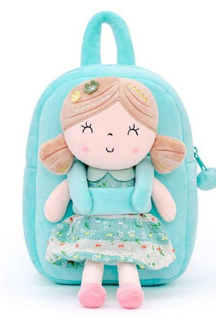 Baby Girls Backpacks Plush Cotton Removable Girl Doll Backpacks Birthday Gift for Grandchild-Stuff Dolls for Baby Girls-Baby Shower Gifts