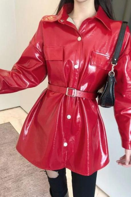 New 2020 Red Leather Jackets for Women with Belt Loose Fit Style New Fashion World Bright Red Leather Jacket Tunics for Women