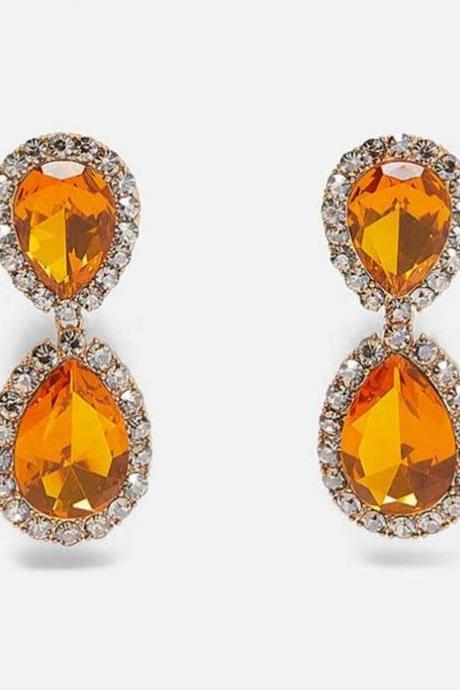 Mythical Orange Earrings for Women Double Stones-Party Jewelry Citrine Earrings Luxury Crystal Earrings Trendy Rhinestone Teardrop Dangle Earrings For Women