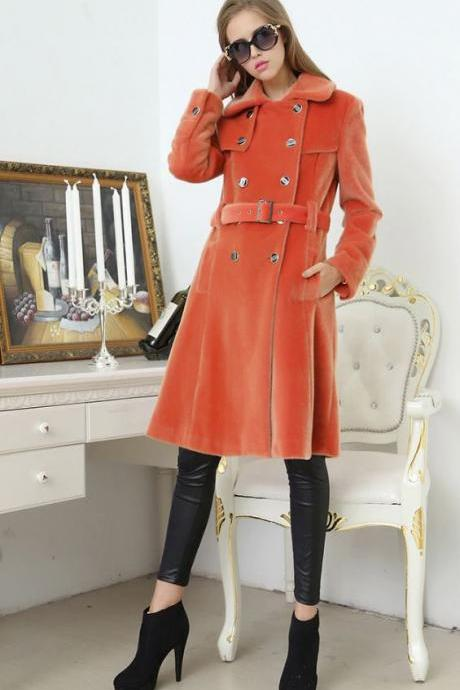 SALE! Orange Overcoats for Women Warm and Cozy Coats for Women Faux Fur Trench Coats FREE BROOCH