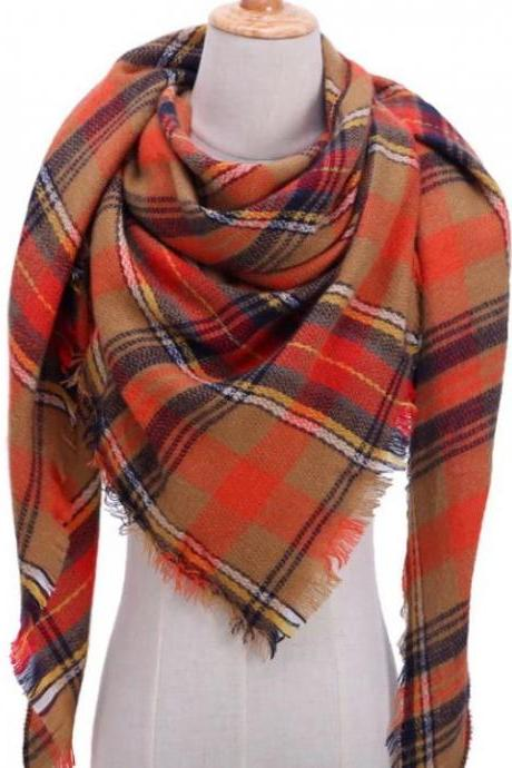 Wide Orange Shawl Scarves for Women-Large Scarf Plaid Triangle Cashmere Scarves Pashmina Blankets Wraps 140*140*210cm