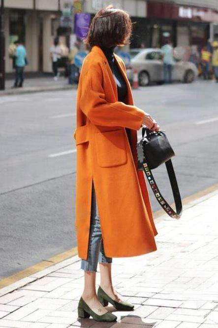 New Orange Woolen Trench Coats for Women Plus Size Loose Wool Coats for Women Loose Open-Forked Waistband