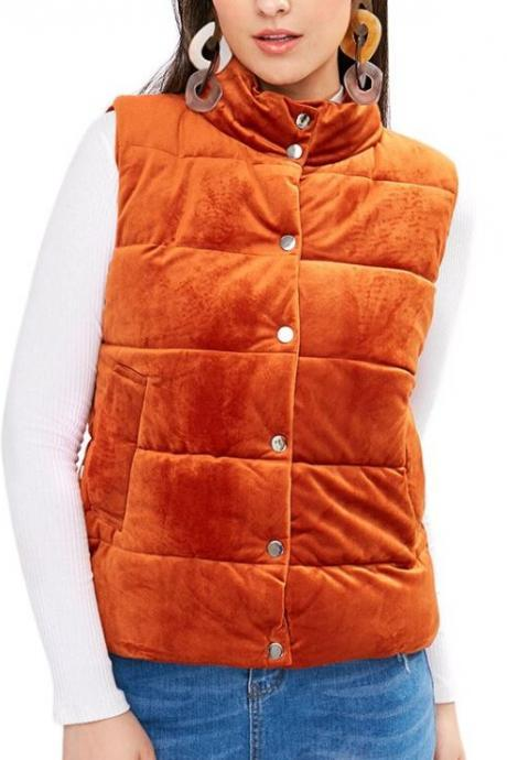 Warmer Orange Vests for Women New Fashion Clothing for Women-Autumn Winter Women Gold Velvet Down Cotton-Golden Orange Winter Vest for Women