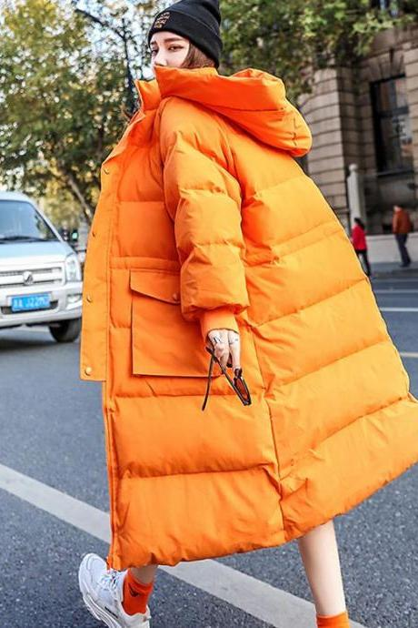 2020 Parkas for Women Orange Cotton Duck Down Long Overcoats for Women-Loose Fit Parka Hooded White Duck Down Jacket Thick Warm Female Loose Down Coat