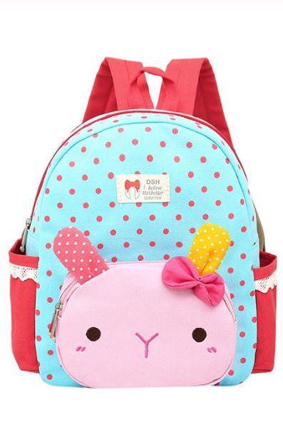 Little Blue Backpacks Birthday Girls Gift for Grandchild-Cute Bags Children Baby Girls Boys Kids Cartoon Rabbit-Polka Dots Backpacks for Kindergarten