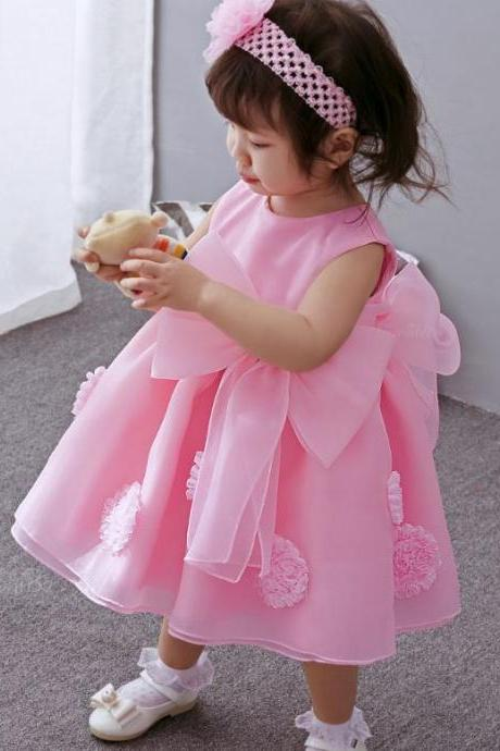 SALE! Little Birthday Girls Pink Dress with Big Bows Pageant Ballgown Dresses for Infant Girls Flower Girls Dresses