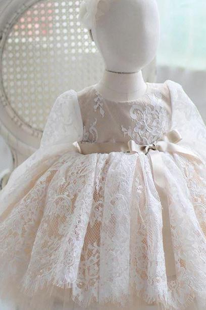 Little Princesses Ivory Gowns with Free Little Flower Tiara for Girls 5-7 Layered Lacy Tulle Sheer Sleeves Dress