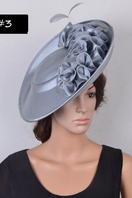 Silver Hats for Women-Satin Fascinator Collection Luxury Hats forWomen-Silver Wedding Hats-Photography Props for Women