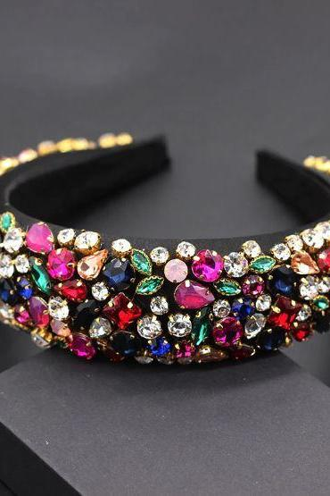 Fashion Colorful Headbands for Women Everything is Shiny About Women-Personality Dance show Catwalk Color Rhinestones