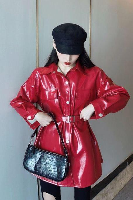 New Red Leather Jacket Pretty Red Color Long Red Tunics for Women Size 14 Red Leather Jackets
