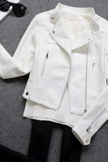 SALE! White Cropped Jackets for Women FREE SHIPPING White Leather Jackets for Teenage Girls