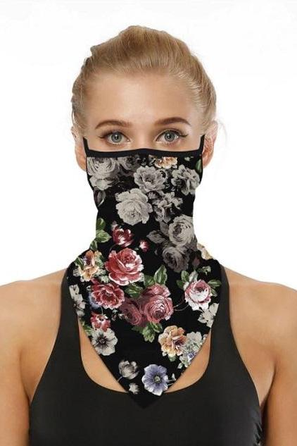 Rsslyn Black Masks for Women Floral Neck Gaiters Breathable New Black Balaclava for Women
