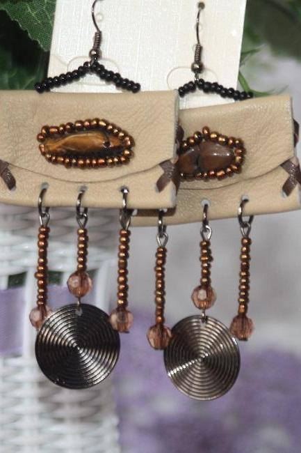 SALE! Real Leather Earrings for Women Handmade from Philippines Beige Cream Unique Cowgirls Leather Earrings