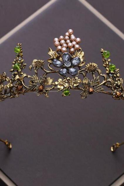 Tiaras and Crowns Vintage Style-Grapes and Leaves Baroque Vintage Gold Crystal Flowers Beads Tiaras