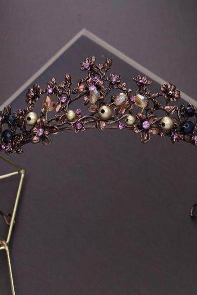 Purple Tiaras and Crowns Vintage Style-Baroque Purple Crystal Beads Flower Tiaras
