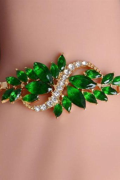 50% Off Green Bangles and Bracelets All Match Formal Outfit Cubic Zircon Stones Affordable Green Bracelets for Women