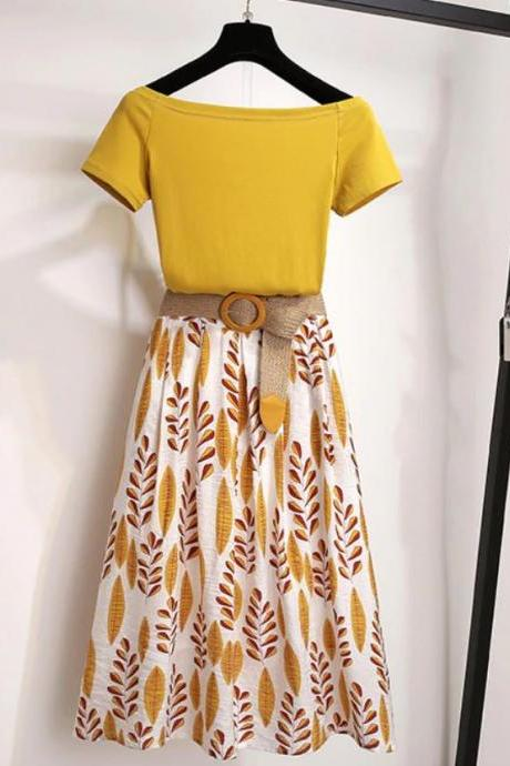 40% Off Matching Set Yellow Shirt with Yellow Printed Skirts for Women Off Shoulder Blouses for Women-Women Summer T Shirt 2-piece Set Off shoulder Basic Tees