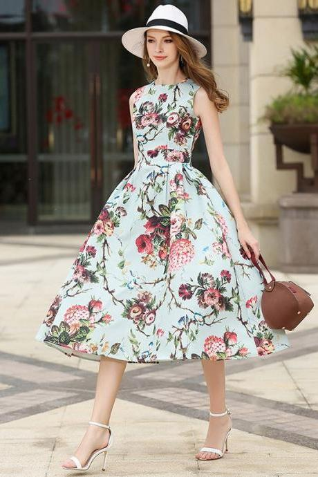 45% OFF Elegant Mintgreen Dress for Women New Pleated Dress High Quality Material Dress for Spring- HIGH QUALITY New Fashion 2019 Designer Runway Dress