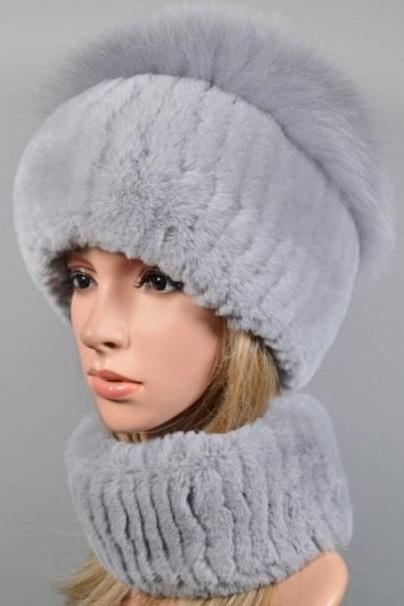 Rsslyn Matching Set Gray Winter Accessories for Elegant Womens Real Genuine Fox Fur Hat and Scarf