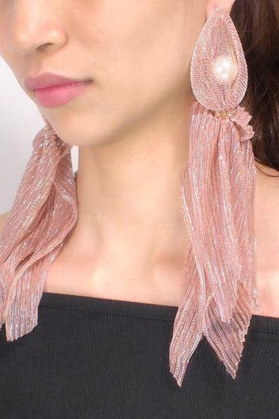 Pink Wrapped Pearl Treasure Charming Glossy Pink Long Dangling Earrings-Lace Wrap Imitation Pearl Long Earrings Crystal Beaded Statement