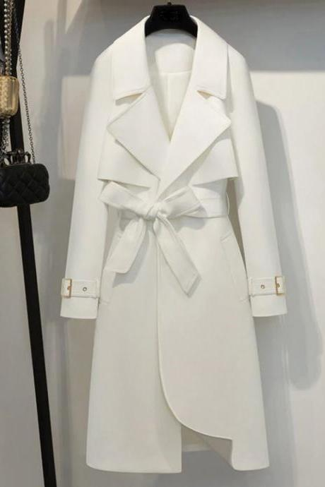 50% Off SALE! Free Brooch for White Trench Coat for Women White Color Office Work Shoulder Cover