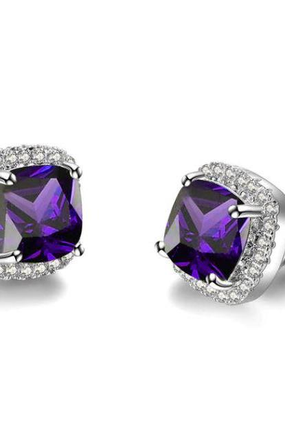 50% Purple Stud Earrings Square Stud 925 Sterling Silver Filled Earrings Rainbow Color Cubic Zirconia Stone