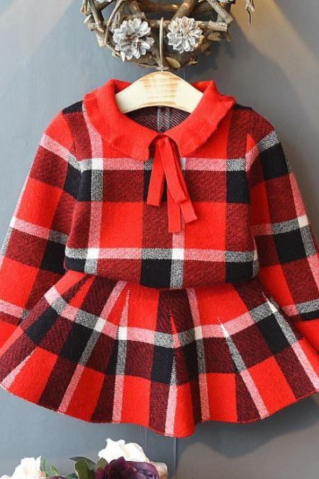 Checkered Tutu Dresses Early Spring Fall Winter Baby Girls Outfits Kids Girls Plaid Knitted Sweater and Pleated Skirt