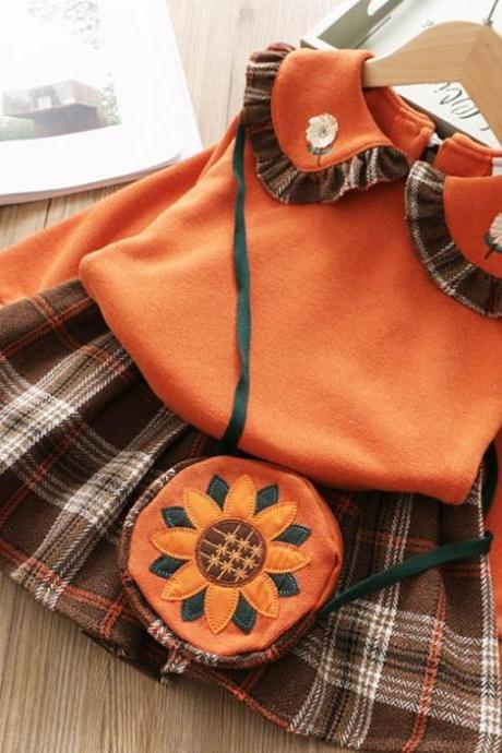 Orange Dress Checkered Tutu Skirts for Little Girls with Orange Tops-Cabin Girls Dress Autumn Winter 2pcs Children Clothing Orange Princess Dress