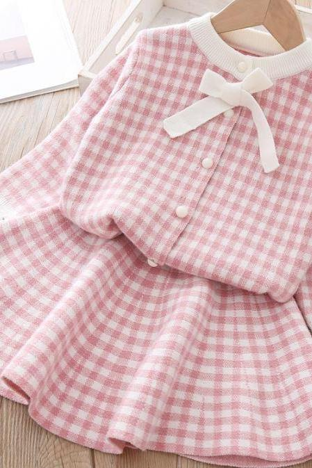 New Plaid Blouse with Matching Plaid Skirt Twin Set for Girls-Button Up Cardigan with Ruffled Pink Skirts