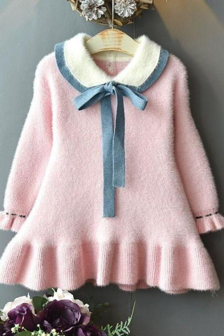 New Soft Pink Cashmere Baby Girls Outfits for Spring Fall Winter Kids Girls Knitted Sweater Dress_Pink Dress for Infant Girls