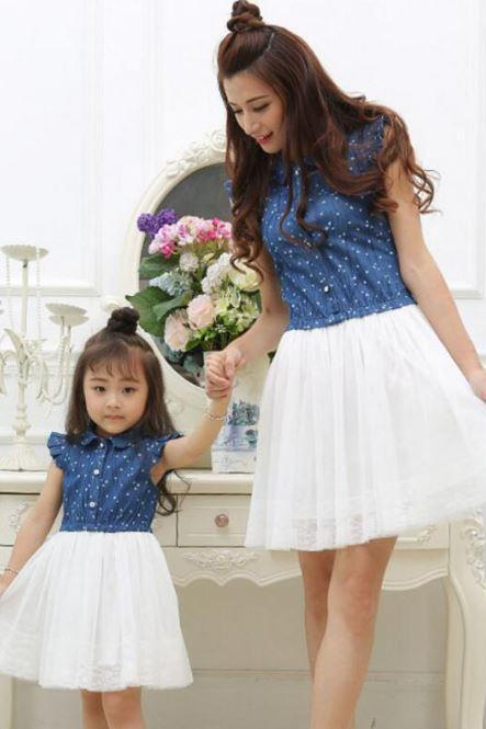 Sisters Denim Dresses Matching Set Denim Cowgirls Outfit Ruffled Sleeveless Denim Dresses
