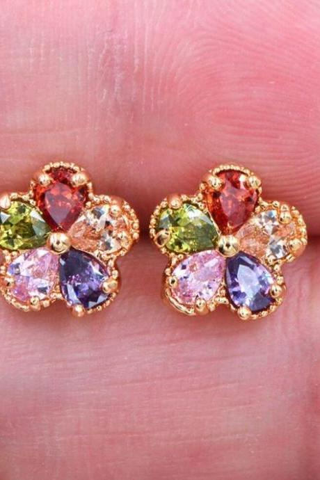 Colorful Cubic Zirconia Lovely Flowers Stud Earrings Jewelry-Fashion Gold Plated AAA+ Cubic Zirconia Romantic Women Multicolor CZ Flower Stud Earrings Jewelry