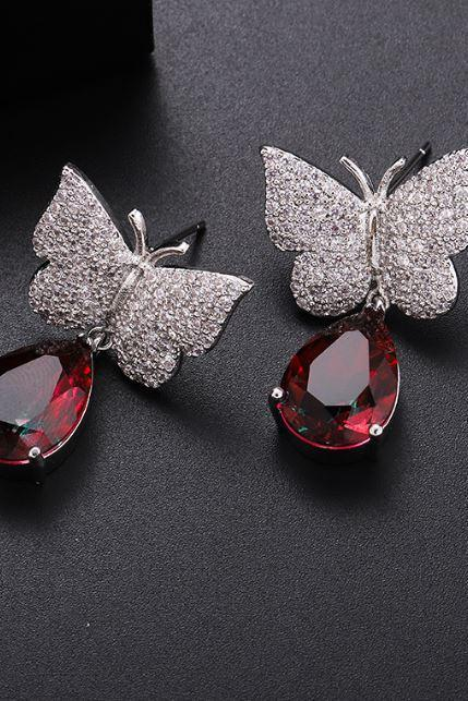Silver Plated Butterfly Earrings Fancy Stone Bridal Dangle Earrings Butterfly Crystal Zirconia