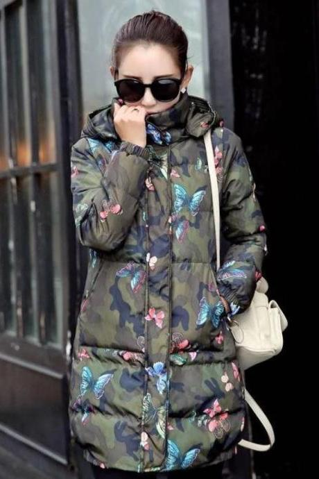 Green Parka for Women Hooded Parka Winter Jackets for Women Long Overcoats Camouflage Coats for Women