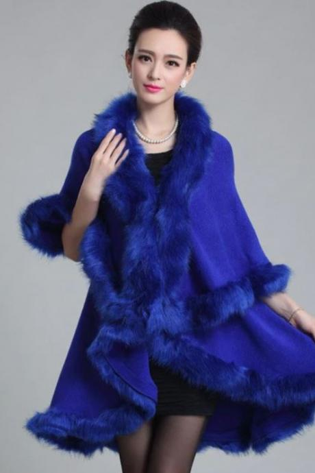 Royal Blue Cardigan Fashion Royal Blue Ponchos for Women Knitted Wool Women's Black Cardigan Double Layer Fur Thicker Trims Royal Blue Shawls for Women