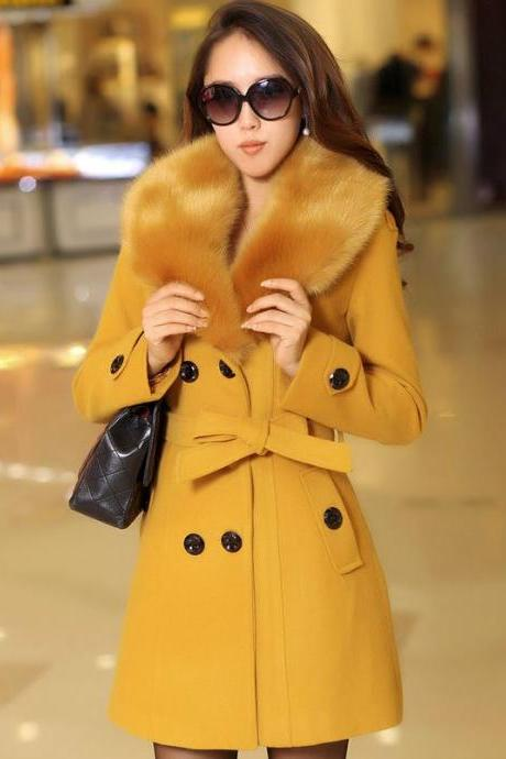 Golden Yellow Overcoat for Women with Detachable Fur Collar Golden Coats for Women Yellow Trench Coats is READY FOR SHIPPING TODAY Yellow Dress Coats