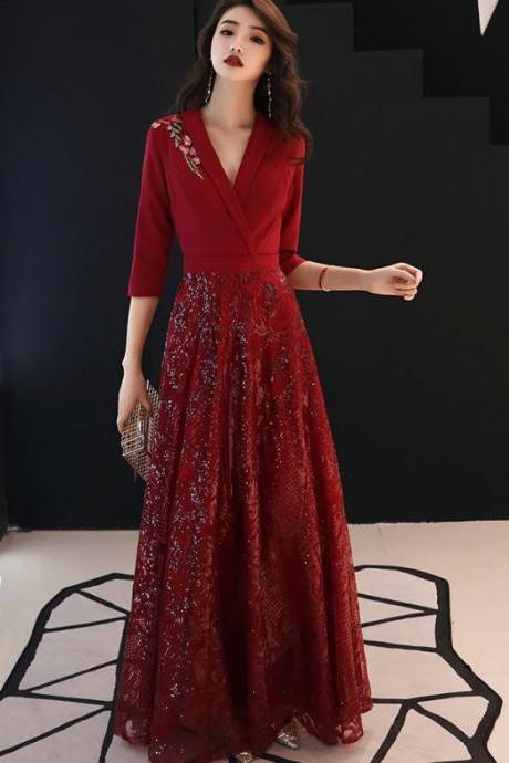 Sequined Evening Dress for Women Red Dress for Women Burgundy Dress for Women Ruffled Dress for Women Solid Floor Length Prom Dress Dress