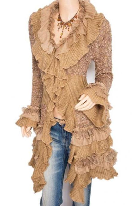 Beige Ruffled Cardigan for Women Long Sweaters Casual Style Sweaters